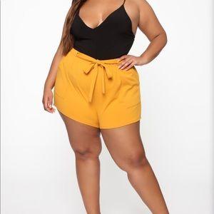 Fashion Nova shorts mustard yellow size 1x